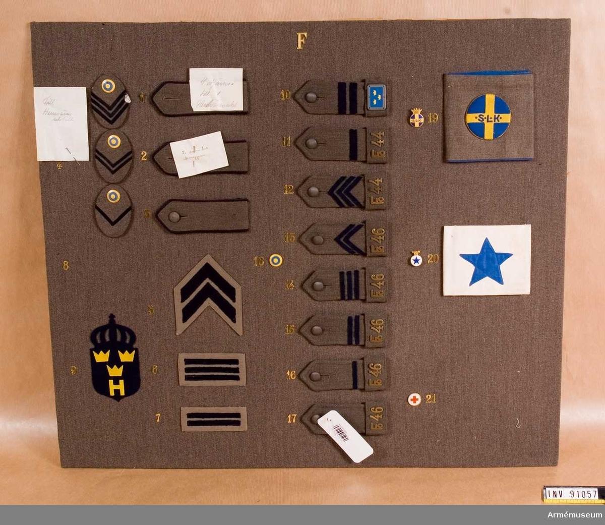 Gradbeteckningar för Lottakåren, Blå Stjärnan, Röda Korset och Hemvärnet.