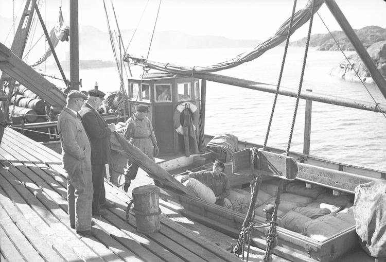 Jakterna  ALVINA och INGA lastar vid Oxevik våren 1949