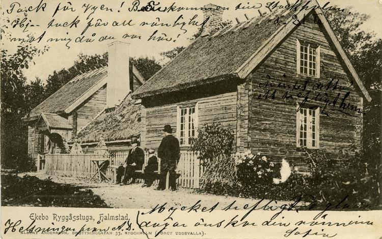 Notering på kortet: Ekebo. Ryggåsstuga, Halmstad.