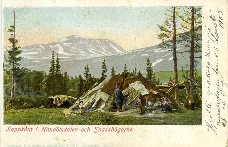 Notering på kortet: Lappkåta i Handölsdalen och Snasahögarna.