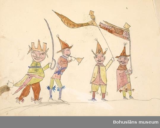 """115 barnteckningar och två häften. Teckningarna monterade på ett antal kartonger, ibland flera teckningar på varje kartong. Vidare en liten ihopsydd/-knuten bok """"Album"""" af Ragnar 1892 samt ACME DRAWING TABLET. Tillkomna i San Francisco, USA (Nordamerika). För uppgifter om konstnären Ragnar Ljungman, se RL001."""