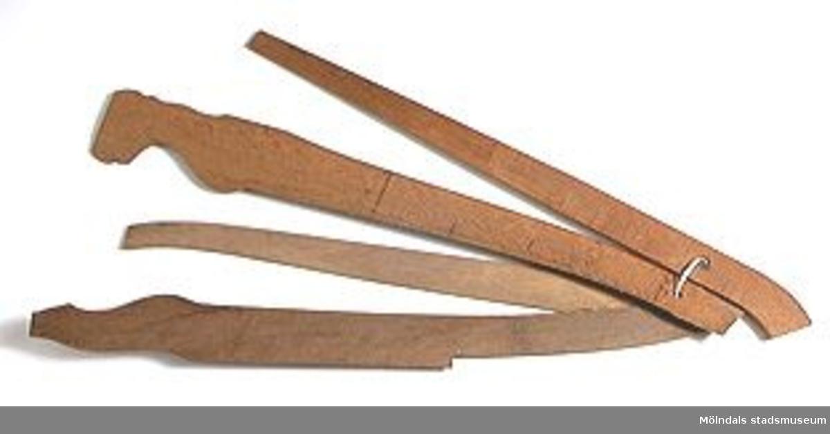 Möbelmall av trä, så kallad radiemall, för framben. En av åtta mallar (med Mölndals stadsmuseums föremålsnummer 00440-00447), ihopsatta med snöre. Exakt användning är dock svår att identifiera.Litteratur: Red. Särnstedt, Bo: Lindome Västsvenskt möbelsnickeri under 300 år, Stockholm 1977. Utställningskatalog från Liljevalchs Konsthall 1977-06-30-1977-09-11. Se sid 22-23 för historik kring fam. Thorsson.Mölndals Museum: Lindomemöbler, Länstryckeriet Göteborg 1994. Utställningskatalog innehållande kapitel rörande familjen Thorssons verksamhet.