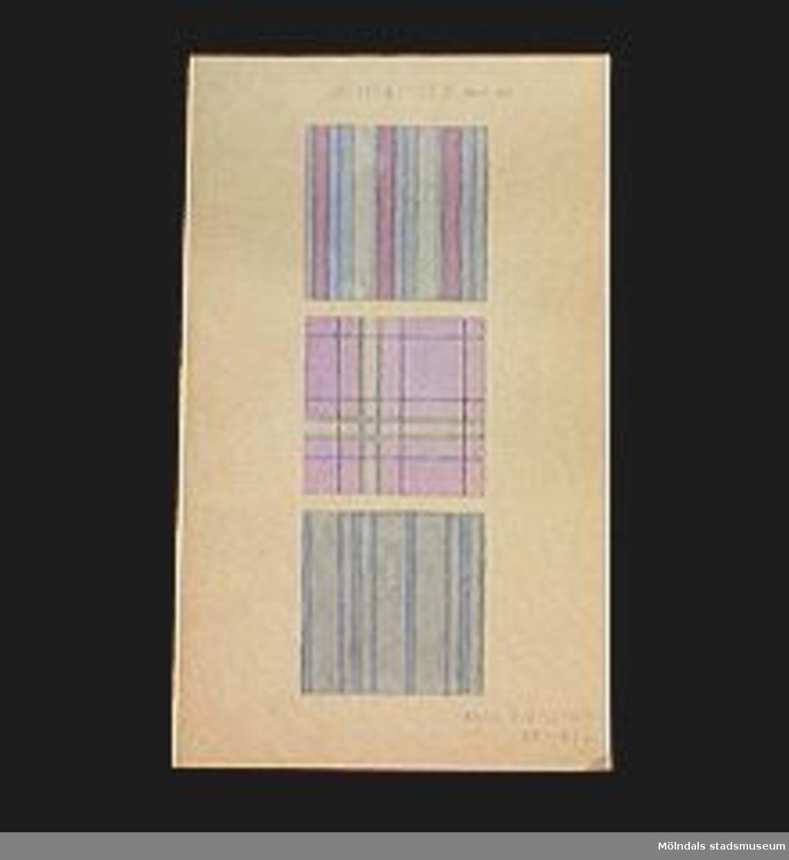 """Kompositioner, randigt och rutigt. Färglagt med vattenfärg: rosa, ljusblått. """"HEMSKISSER"""". Tillverkad 1924-03-24.Elevarbete från textillärarseminariet.Gåvan förmedlad genom Gustav Wickström."""