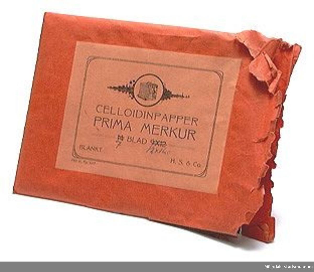 5 st. emballage av olika format och färg, för fotopapper och vykort, tyska och danska. 1909-1917.