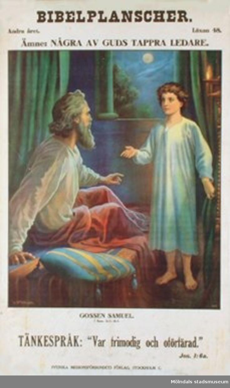 Kristendomskunskap.Bibelplanscher: Några av Guds tappra ledare. Gossen Samuel. (1 Sam. 3:1-4:1).Konstnär: O. Stemler.