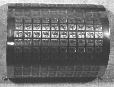 Tryckplåt i halvcylinder, till frimärken Gustav V, en face, 15 öre.