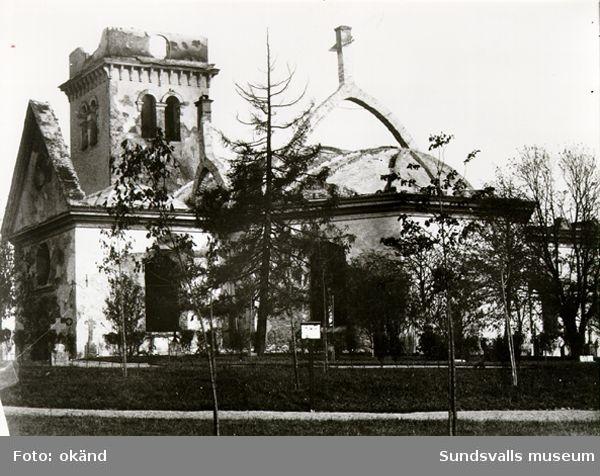 Sundsvalls stadskyrka, Lovisa Ulrika, efter stadsbranden 1888. Kyrkan invigdes 1753 och revs efter branden.