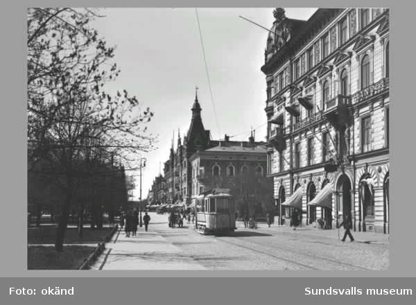 Spårvagn på Storgatan. Kv Olympen t h