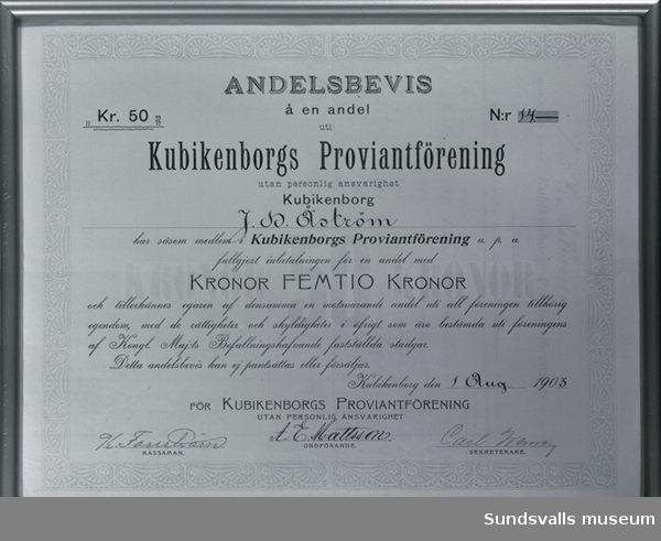 Andelsbevis för Kubikenborgs proviantförening.