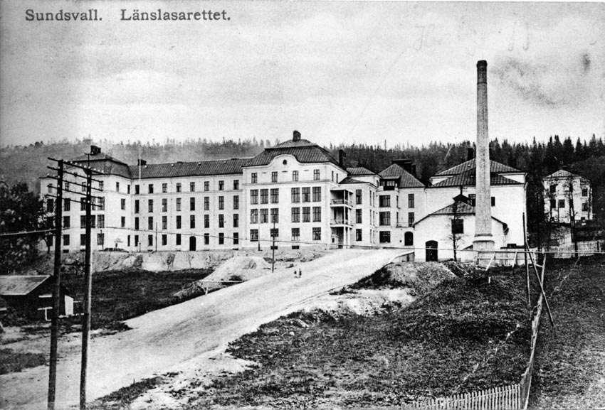 Länslasarettet,, Sundsvall. Vykort.