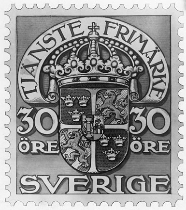 Frimärksförlaga till frimärket Tjänstefrimärke 1910.  Valör 30 öre.