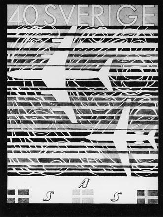Förslagsteckning till frimärket SAS 10 år, utgivet 24/2 1961. Konstnär:  Karl-Axel Pehrson. Förslag i akvarellfärg i blålila, i olika nyanser.