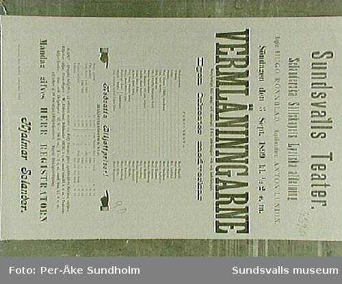 "Teateraffisch ur Sundsvalls Teaterförenings arkiv, Folkrörelsearkivet, ""Wermländingarne"", Tourné: Anna Lundberg, Sundsvalls Teater, Söndagen den 3 April 1898, kl. half 8 - omkr. 10,30 e.m."