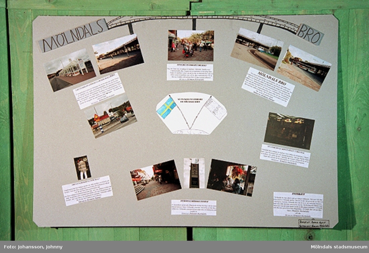 Utställning på Mölndals museum vecka 44 och 45 samt i Stadshushallen vecka 46, år 1996. Mölndalsbro i dag - ett skolpedagogiskt dokumentationsprojekt på Mölndals museum under oktober 1996. 1996_1358-1363 är gjorda av högstadieelever från Kvarnbyskolan 9A. Se även gruppbilder på klasserna 1996_1382-1405 och samtliga bilder från den färdiga utställningen 1996_1358-1381.
