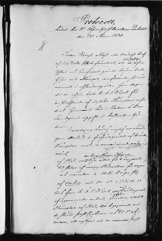 """""""Protocoll hållet hos K. Öfverpost- directeurs Embetet den 30 mars 1830"""" (framsidan)."""
