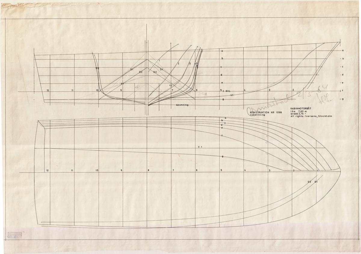 Linjeritning och spantruta, omritad av Henrik Iversen