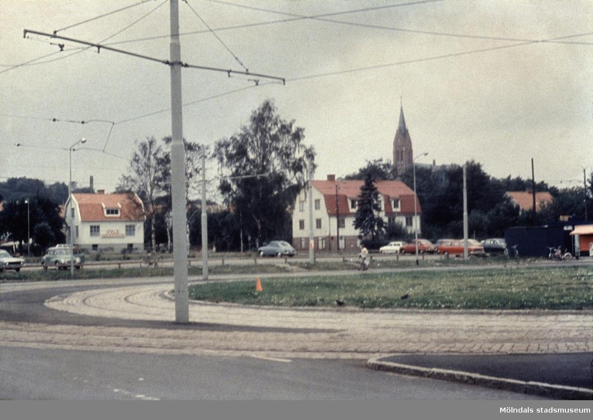 Spårvägens vändslinga på Broslätt i Mölndal, 1970-tal.