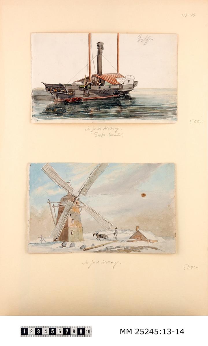 """Akvarell målning föreställande kanonbåten Gylfe. Bilden är monterad på vitt papper tillsammans med MM 25245:14. Grå båt med två brunröda master och ett tak i samma färg. Blyertsanteckning i högra hörnet upptill: """"Gylfe"""", samt undertill på det vita pappret: """"Av Jacob Adelborg. Gylfe. (kanonbåt)."""