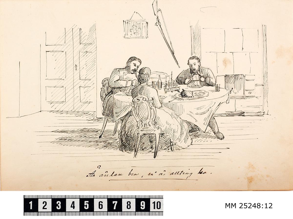 Pennteckning med två soldater och en kvinna som sitter vid ett runt bord och äter. På väggen bakom soldaterna hänger ett gevär med pipan riktad neråt jämte en kakelugn. Text under teckning berättar historien.