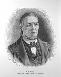 H.N. Hauge. Tegning efter Fladmos Byste af Joh. Nordhagen.