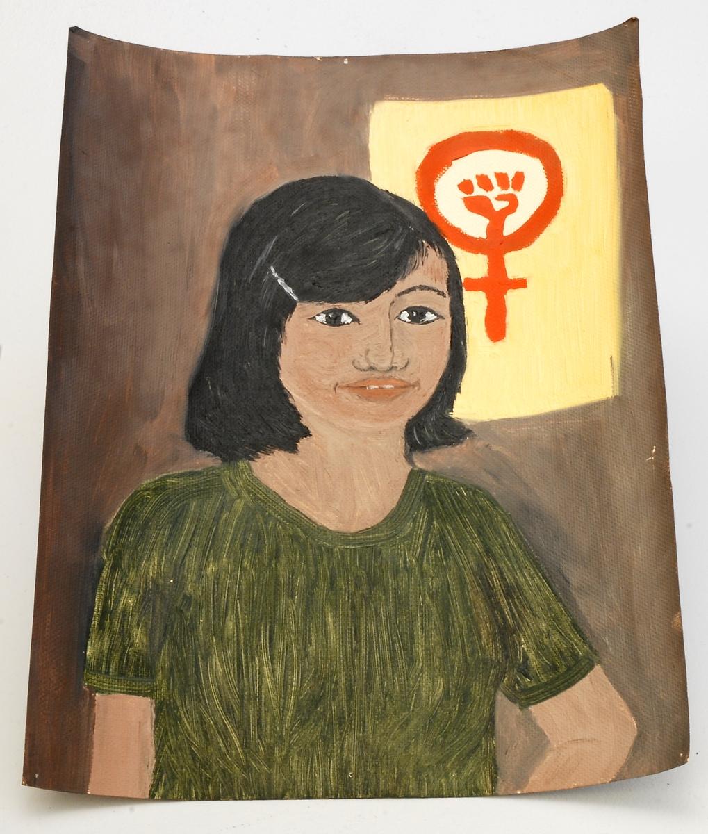 Portrett av jente - med politisk/kvinnekamp symbol i bakgrunn.