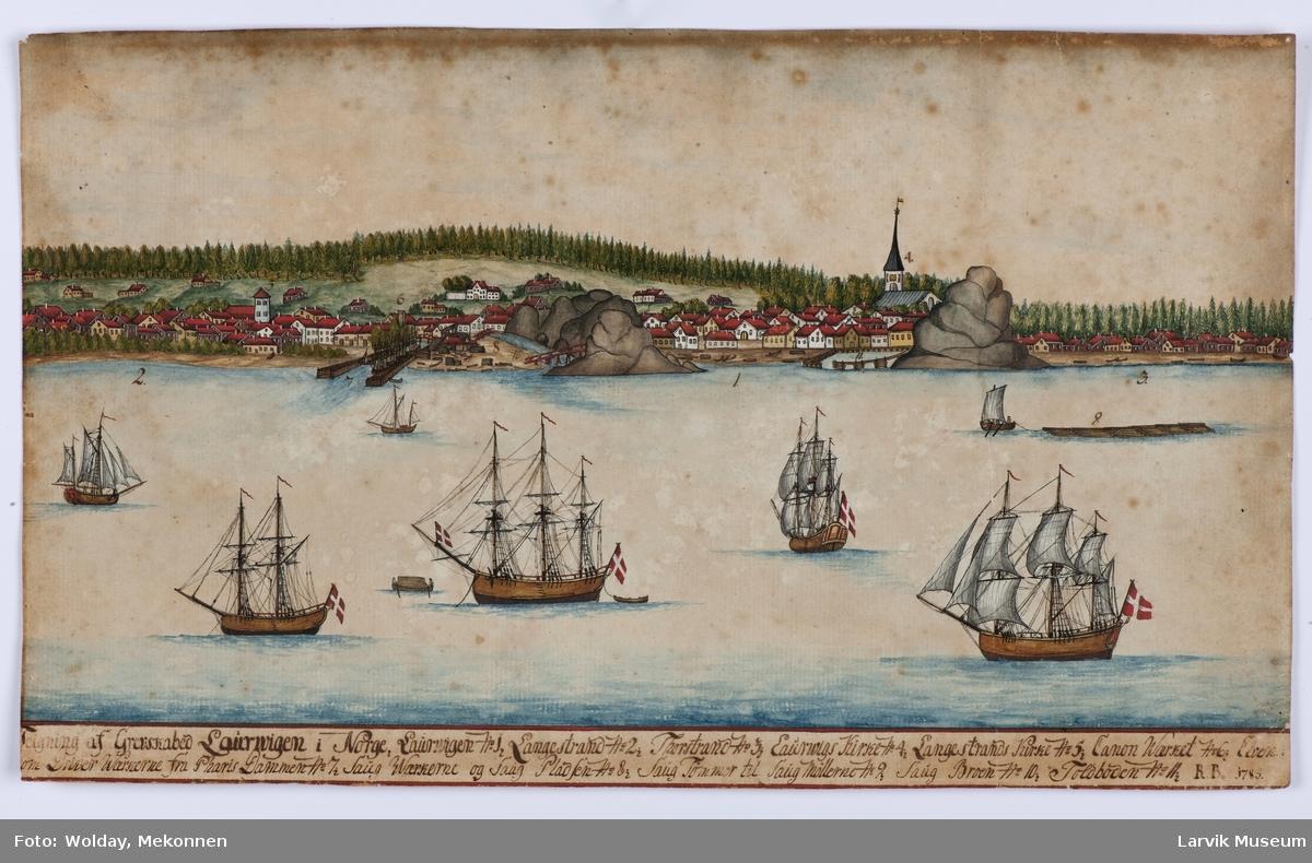 Larvik fra sjøsiden med 6 større skip i forgrunn steder på land er gitt tall som referer seg til tegnforklaring nederst på bildet