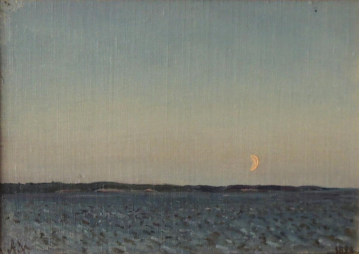 Skjærgård og måne.