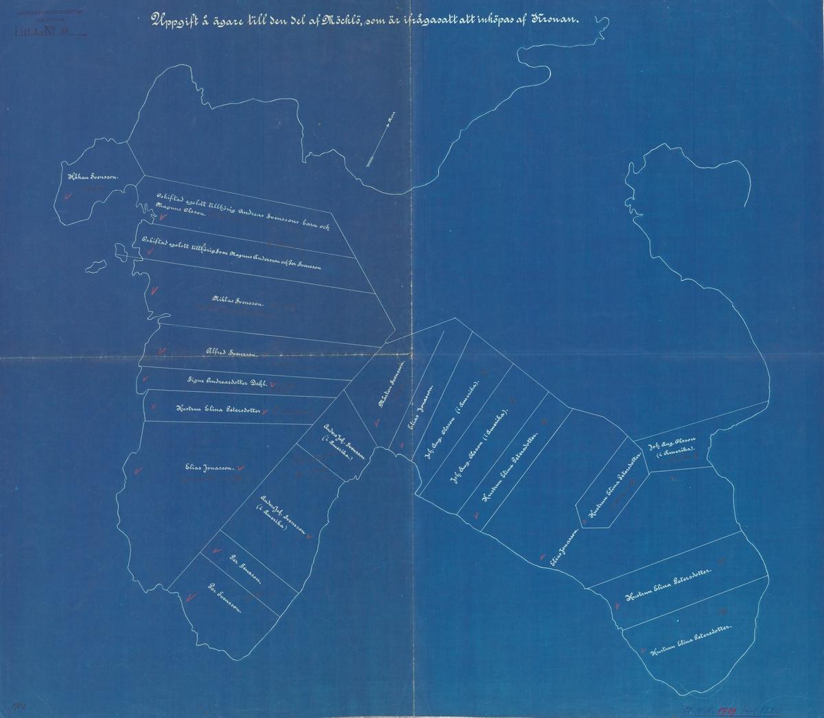 Karta med ägolotter samt namnförteckning över markägare på del av Möcklö.