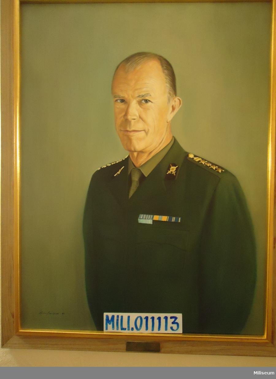 Porträtt i olja på duk av Anders Lilja, inramad i förgylld träram.