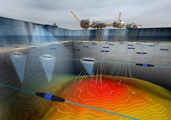 3D modell av Valhallfeltet med plattformer og havbunn. Det e