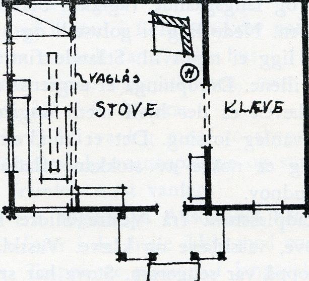 Tradisjonell stove med akerhusisk planløysing.