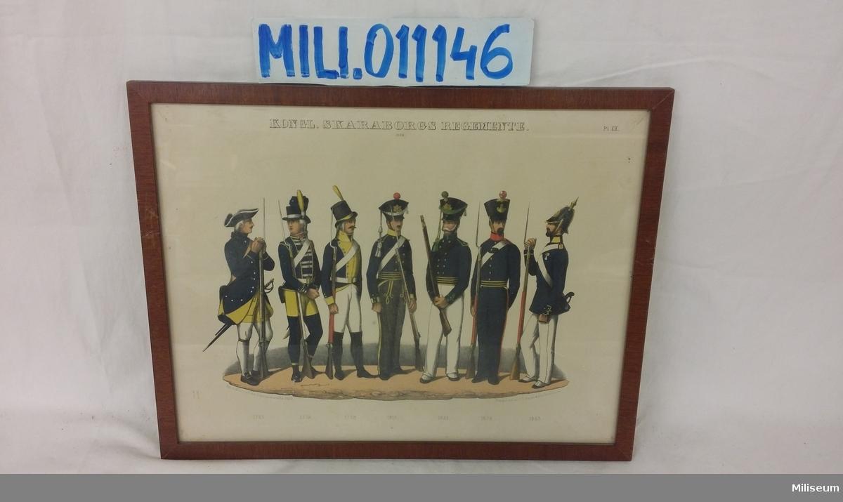 Uniformsmotiv, tryckt 1849-1853, Skaraborgs Regemente, inramat i lackad träram.