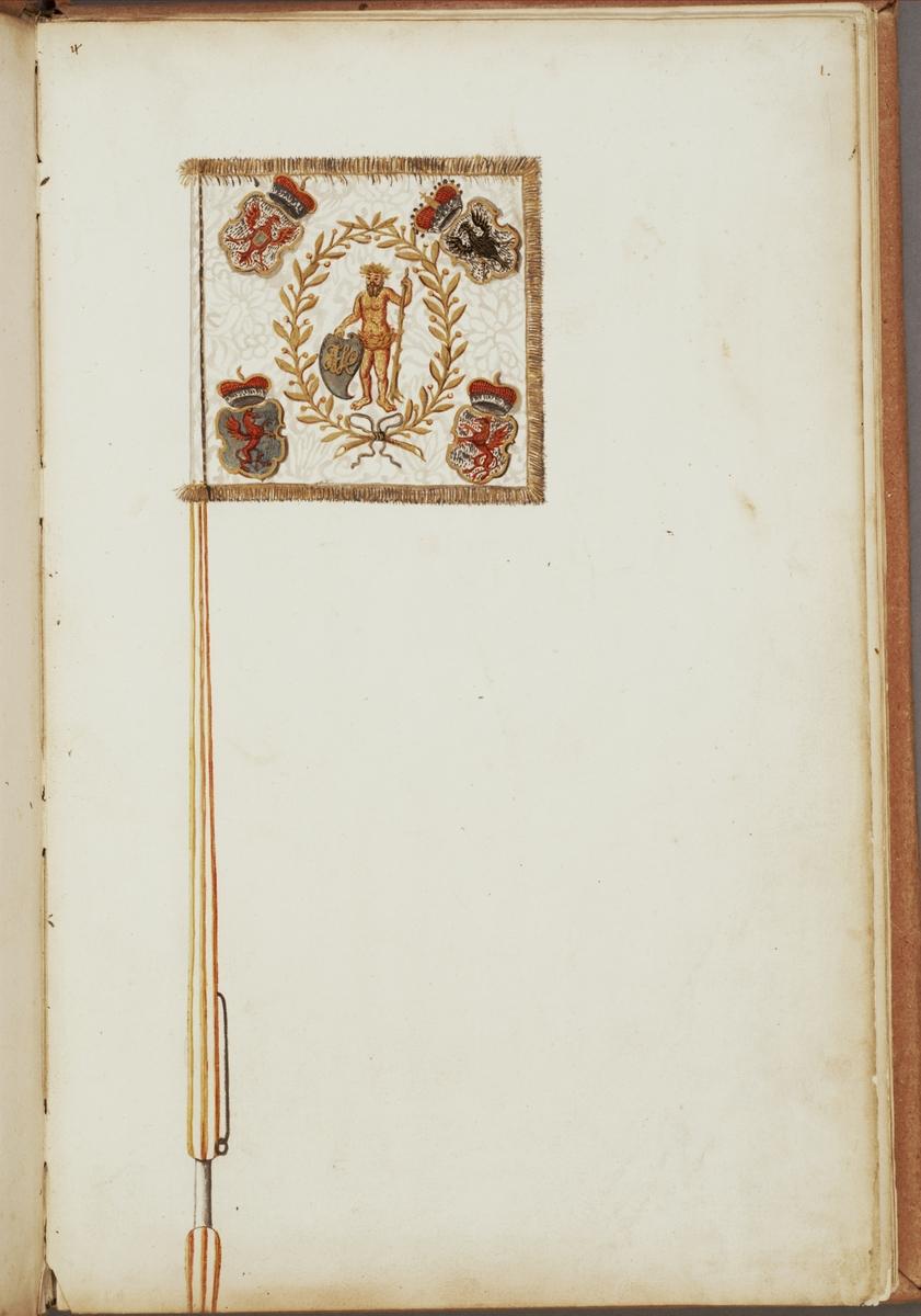 Avbildning i gouache föreställande fälttecken taget som trofé av svenska armén. Det avbildade standaret finns delvis bevarat i Armémuseums samling, för mer information, se relaterade objekt.