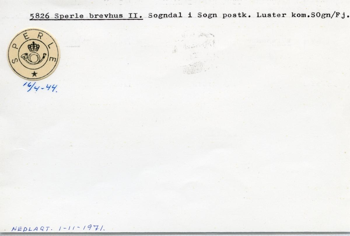 Stempelkatalog 5826 Sperle, Luster kommune, Sogn og Fjordane