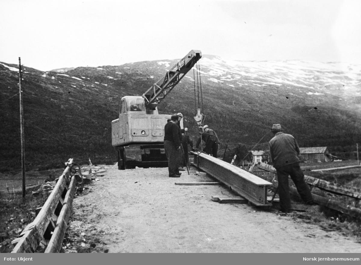 Anlegget Mosjøen-Mo i Rana : bygging av overgangsbru for riksveg i Holandsvika, pel 1306