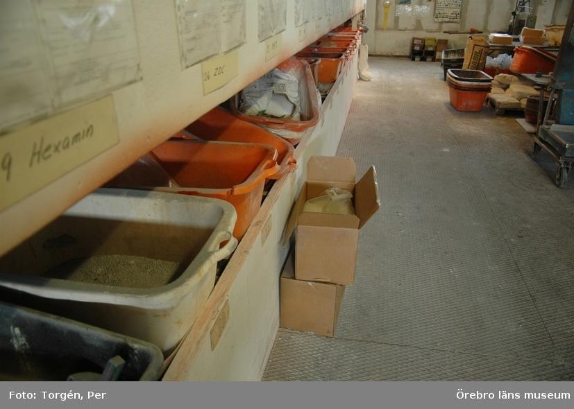 Dokumentation av Lindbacka Gummifabrik, Sveriges enda tillverkare av cellgummi.Interiör.