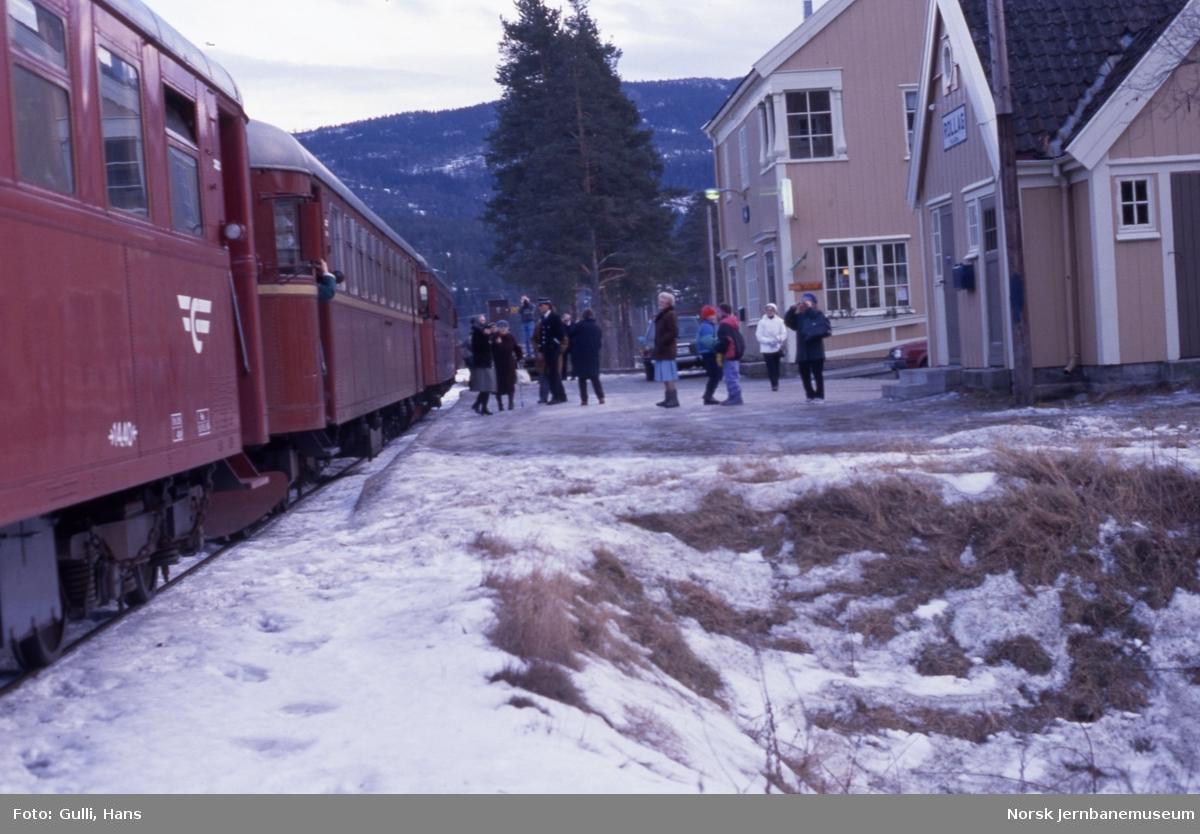 Nest siste persontog til Kongsberg på Numedalsbanen 31. desember 1988 på Rollag stasjon