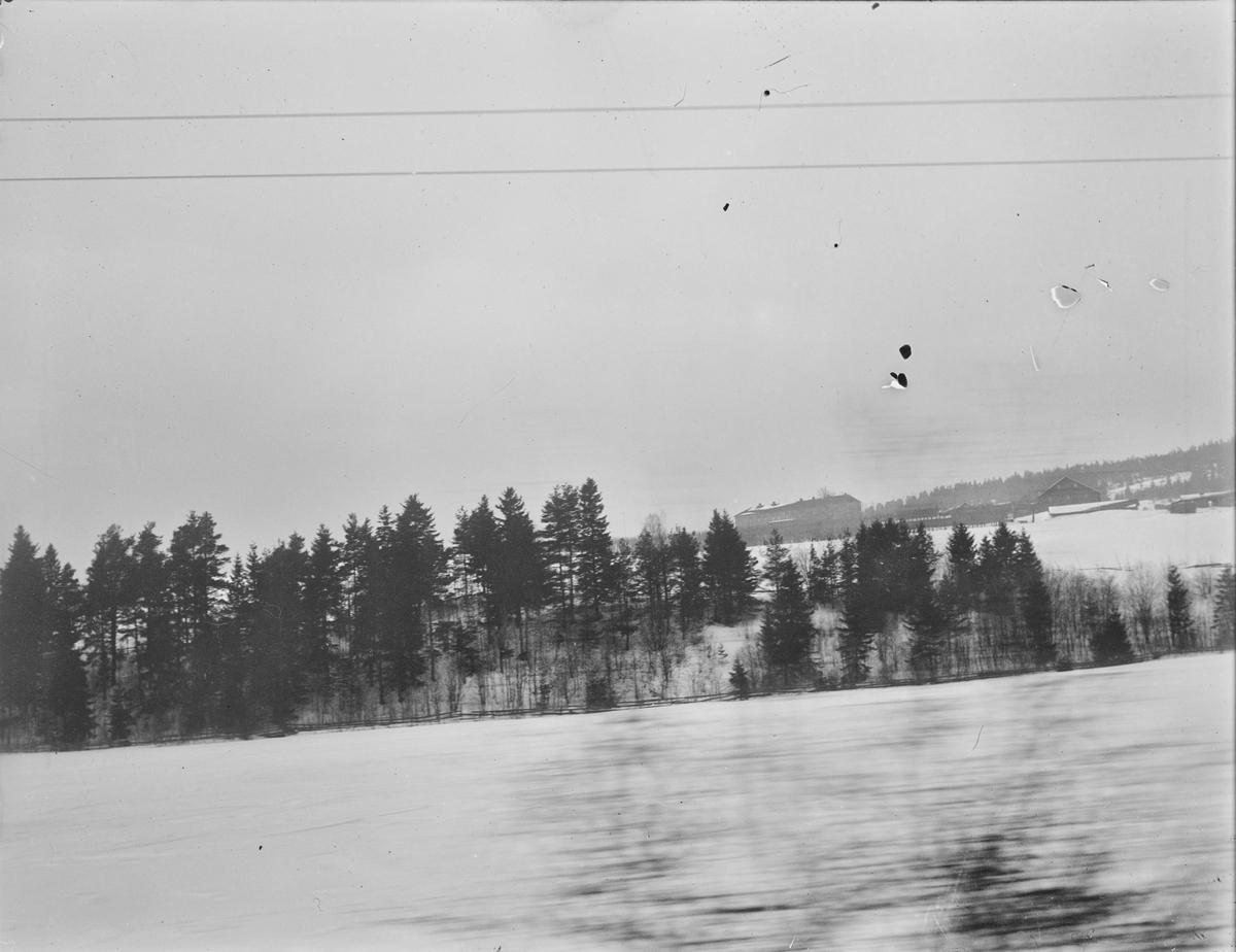Linderud Gård om vinteren sett fra avstand. Bildet er tatt fra baksiden, vi ser driftsbygniner og Lindealléen.