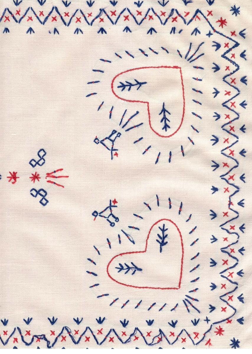 sytt i bomullstyg och broderad i hallandssöm med röd och blå bomullsgarn