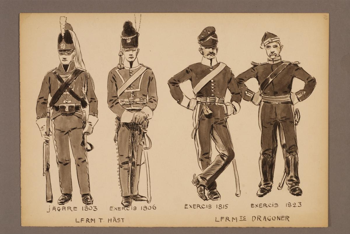 Plansch med uniform för Livregementets dragoner och Livregementets till häst, ritad av Einar von Strokirch.