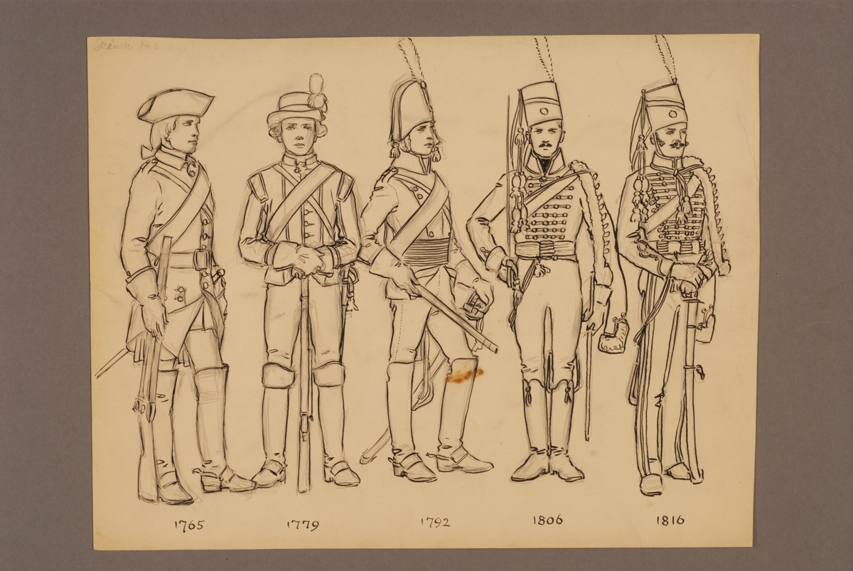 Plansch med uniform för Skånska husarregemente för åren 1765-1816, ritad av Einar von Strokirch.