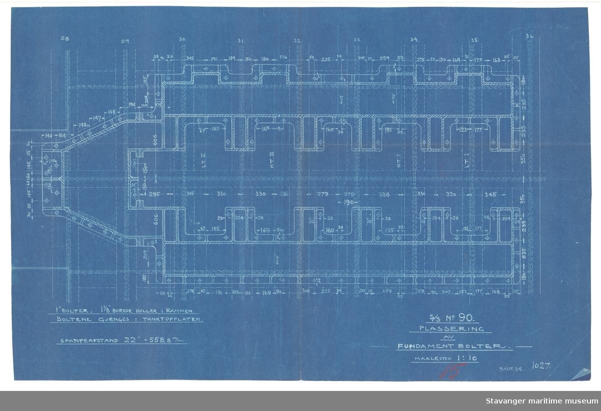 D/S ROGALAND. Plassering av fundamentbolter.1929?