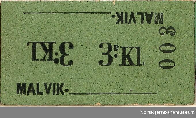 Billett fra Malvik, blanko, 3:kl, ubrukt