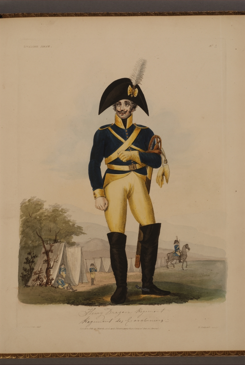 Plansch med uniform för Skånska karabinjärregementet, ritad av Frederic Eben i boken The Swedish Army, utgiven 1808.