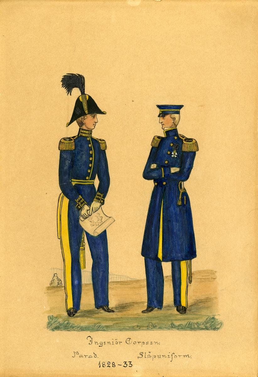 Akvarell med uniformsskiss av parad- och släpuniform för Ingenjörkåren 1828-33.
