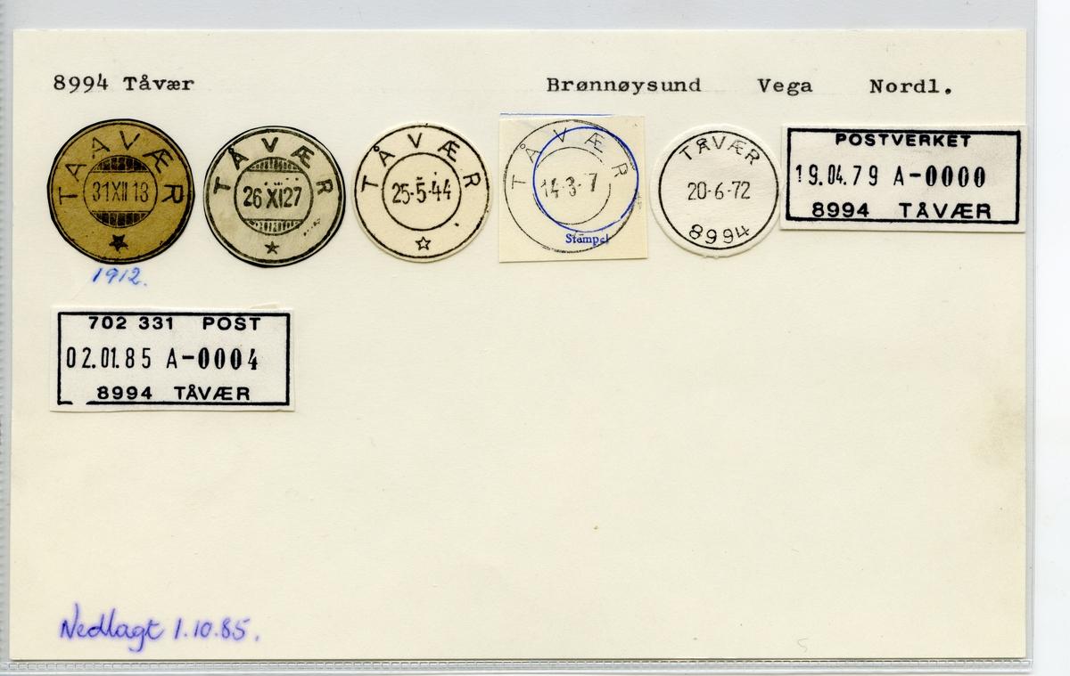 Stempelkatalog 8994 Tåvær (Taavær), Brønnøysund, Vega, Nordland