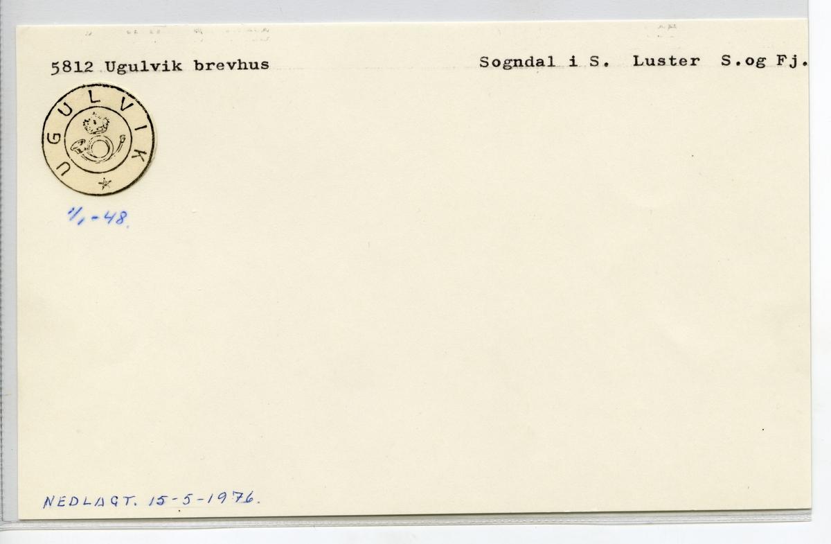 Stempelkatalog 5812 Ugulvik, Sogndal, Luster, Sogn og Fjordane