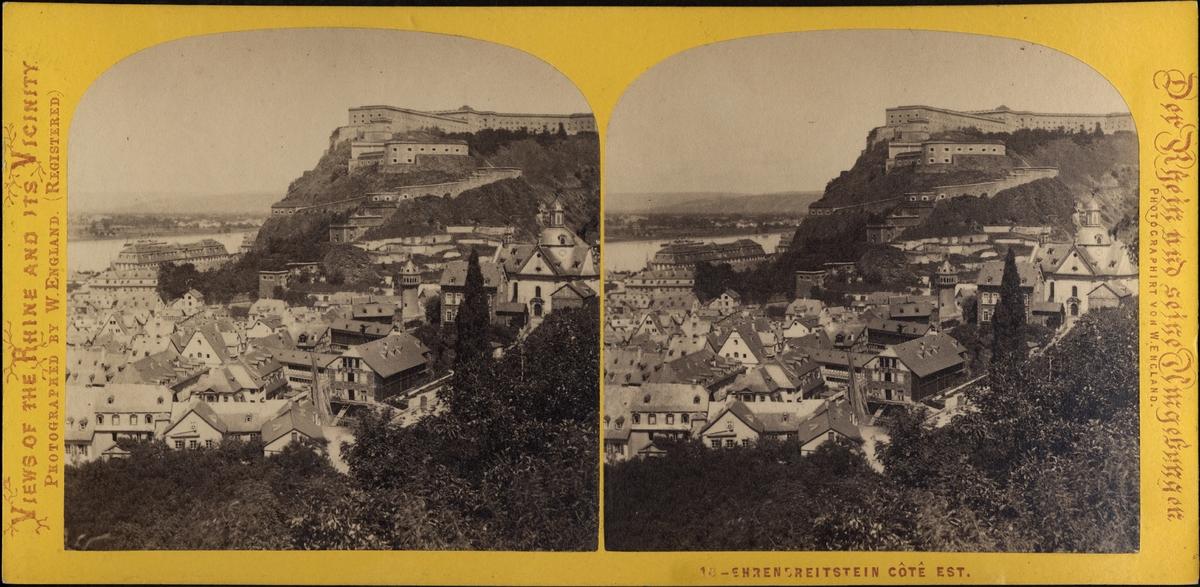 Stereobild, vy över staden opch fästningen Ehrenbreitstein vid stranden av Rhen..