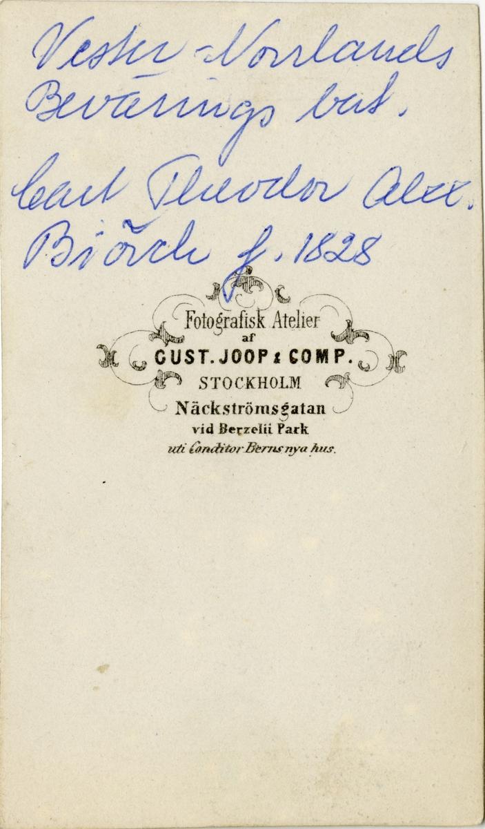 Porträtt av Carl Theodor Alexander Björck, officer vid Västernorrlands beväringsbataljon och Hälsinge regemente I 14. Se även bild AMA.0006899 och AMA.0006976.