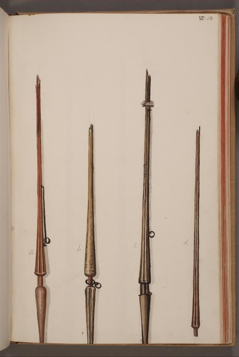 Avbildning i gouache föreställande standarstänger tagna som troféer av svenska armén. De två stängerna längst till höger i bild finns bevarade i Armémuseums samling, för mer information, se relaterade objekt.